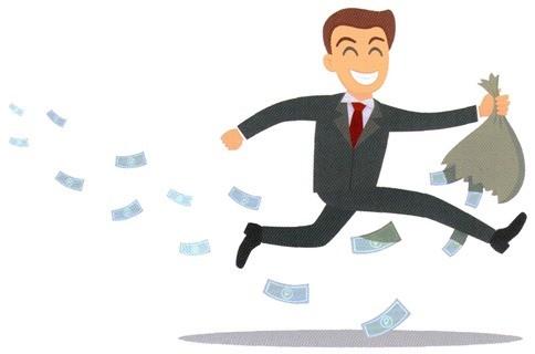 Человек бежит. Деньги летят.