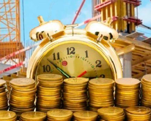 Золотые монеты, будильник, стройка